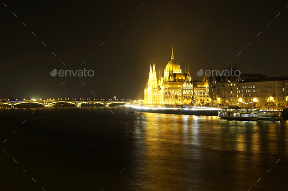 Hungarian Parliament in Budapest at night - Stock Photo - Images