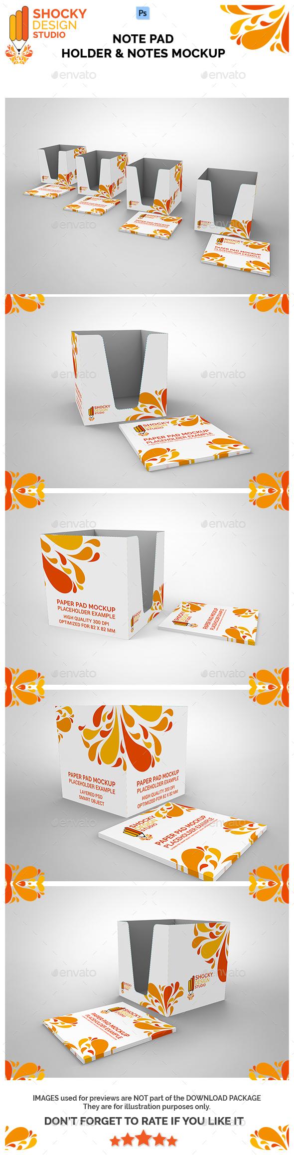 Note Pad Holder & Notes Mockup - Packaging Product Mock-Ups