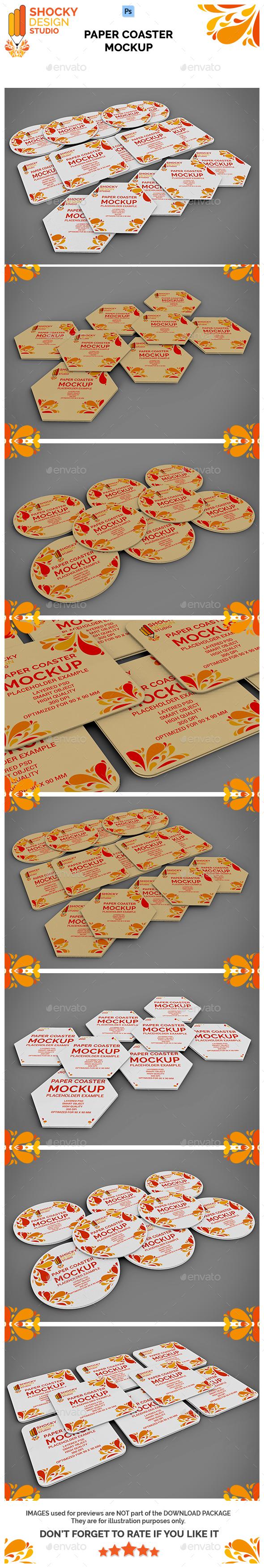 Paper Coaster Mockup Set - Miscellaneous Print