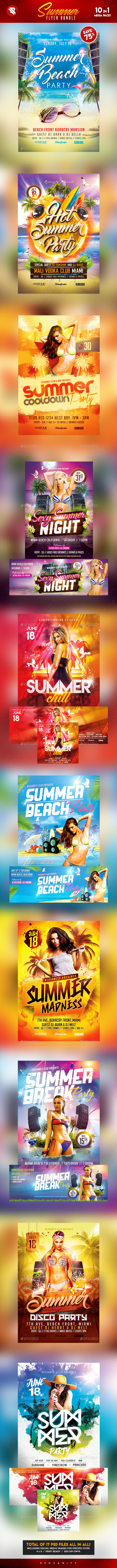 Summer Flyer Bundle 10 in 1 - Clubs & Parties Events