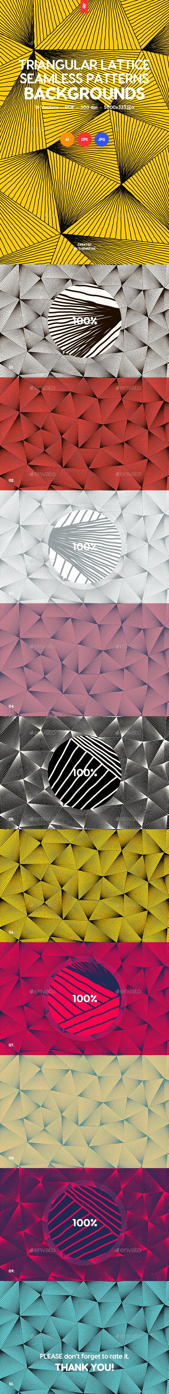 Wavy Triangular Lattice Seamless Patterns / Backgrounds - Patterns Backgrounds