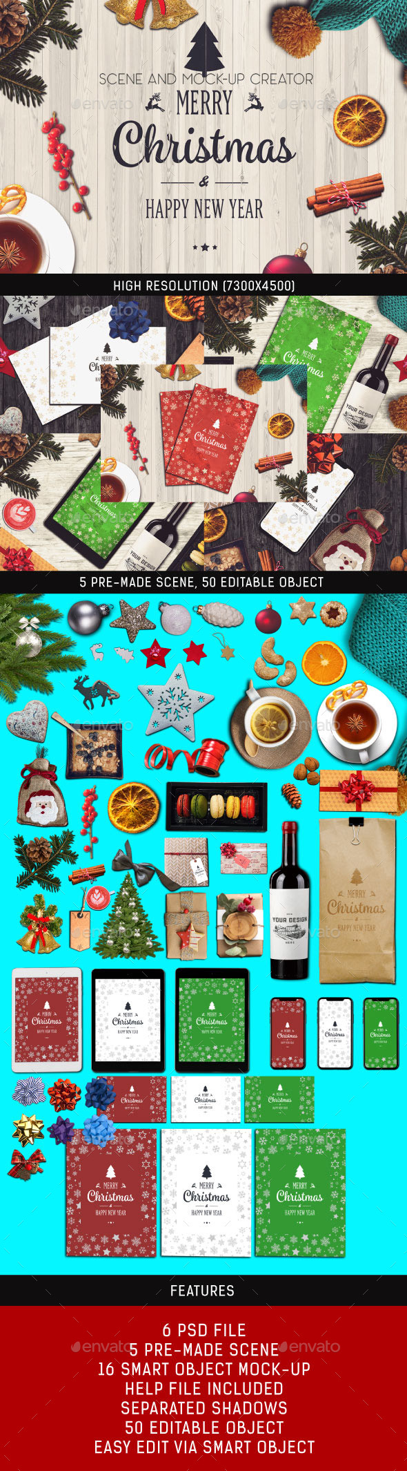 Christmas Scene and Mock-up Creator - Miscellaneous Product Mock-Ups