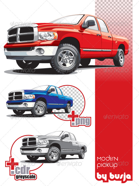 Modern pickup - Objects Vectors