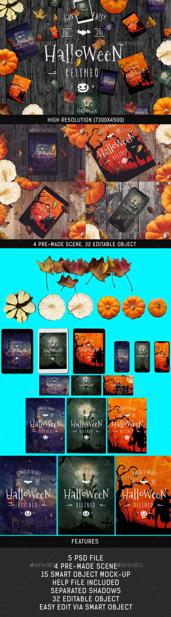Halloween Scene and Mock-up Generator - Miscellaneous Product Mock-Ups