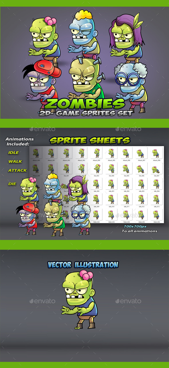 6 Zombies Game Sprites Set - Sprites Game Assets