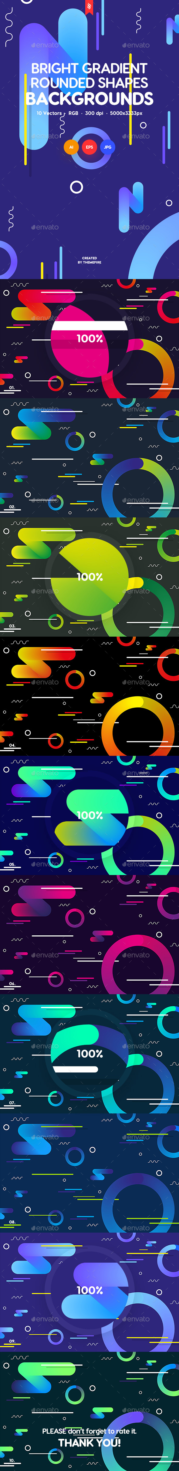 Bright Gradient Rounded Shapes Backgrounds - Backgrounds Graphics