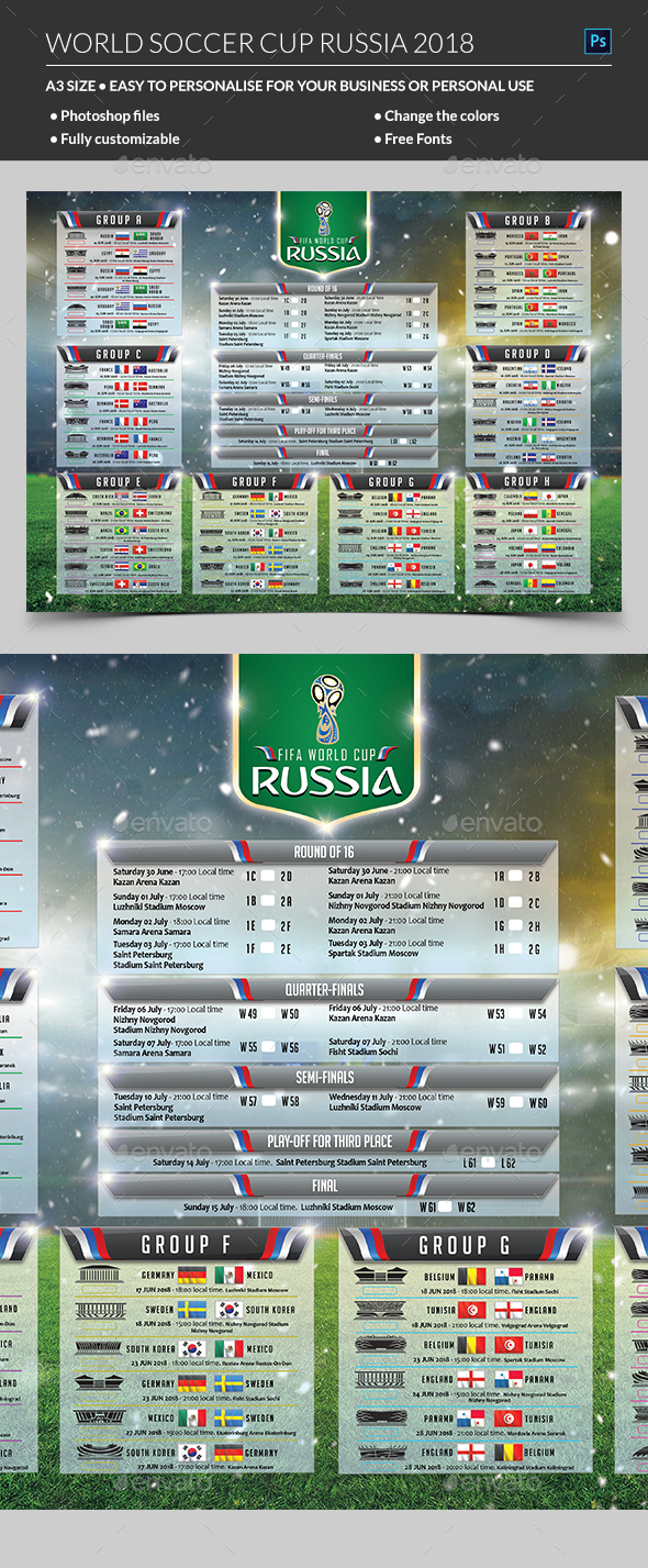 World Soccer Cup Russia 2018 Schedule - Sports Events
