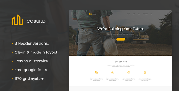 Cobuild - Construction Landing Page PSD Template - Marketing Corporate