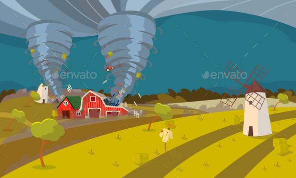 Tornado Destroying Farm Hurricane Landscape - Buildings Objects