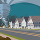 Swirling Tornado in Village Destroys Houses - GraphicRiver Item for Sale