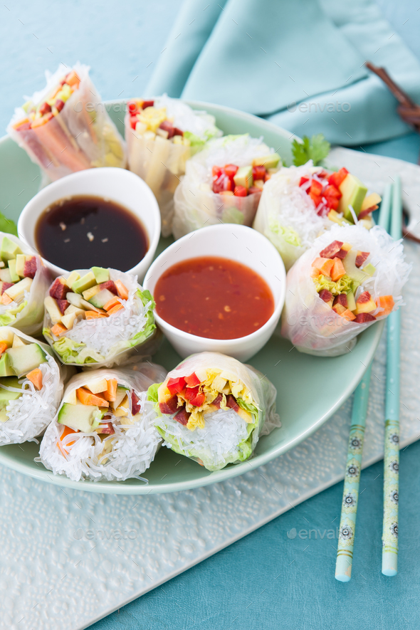 Vegetable spring rolls - Stock Photo - Images