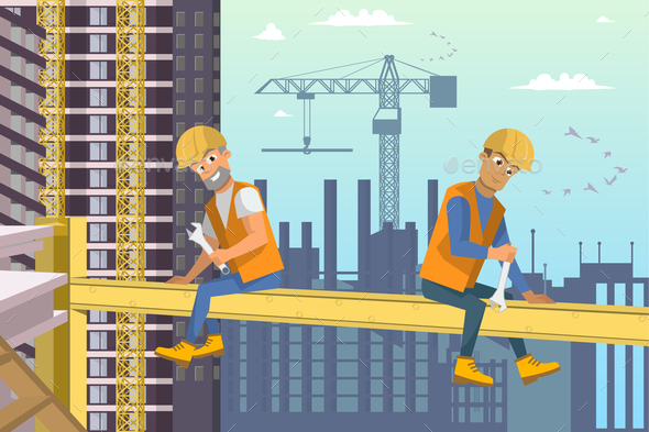 Two Builders Sit on Beam above House Construction - Buildings Objects