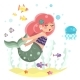 Mermaid Girl Swimming in Sea - GraphicRiver Item for Sale