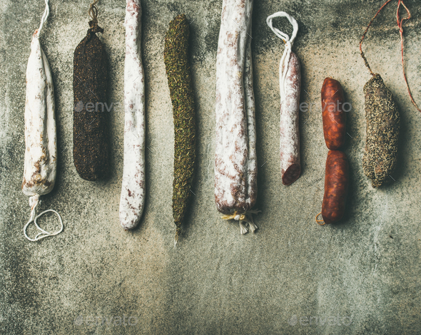 Variety of Spanish or Italian cured meat sausages - Stock Photo - Images