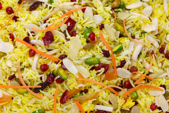iranian cuisine, persian jeweled rice,  javaher polow - Stock Photo - Images
