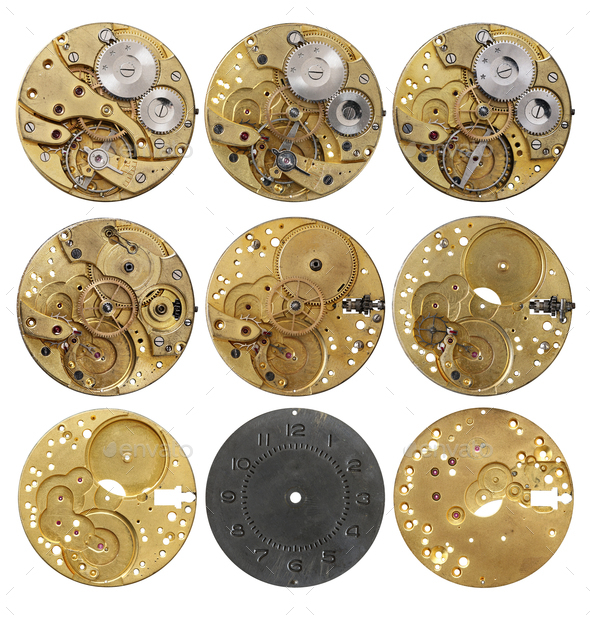 Clockwork mechanism - the various phases dismantling - Stock Photo - Images