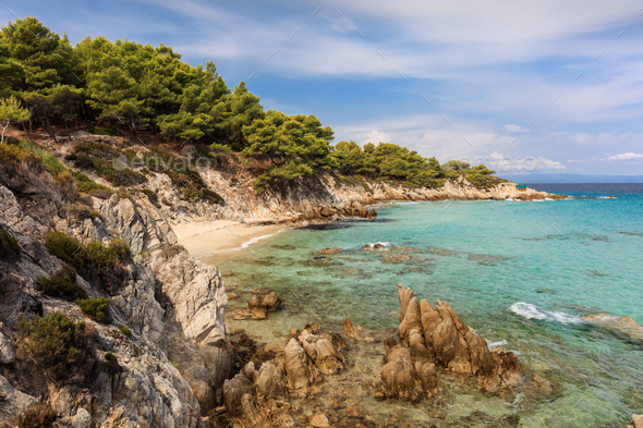 Orange Beach. Chalkidiki, Greece - Stock Photo - Images