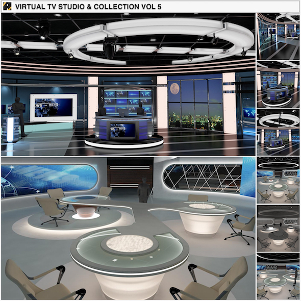 Virtual TV Studio News Sets Collection 5 - 3DOcean Item for Sale