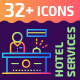 32+ Hotel Services Outline Icons - GraphicRiver Item for Sale