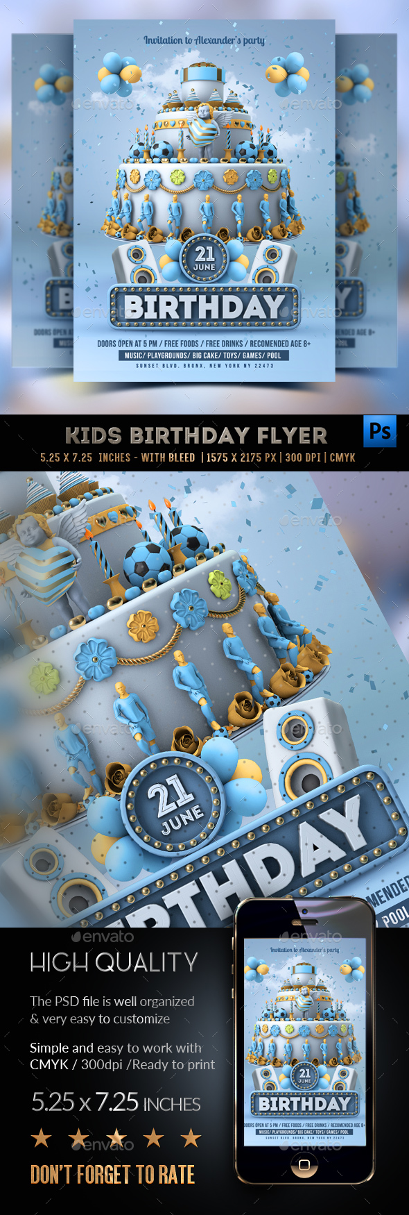 Kids Birthday Party - Boys Flyer - Clubs & Parties Events