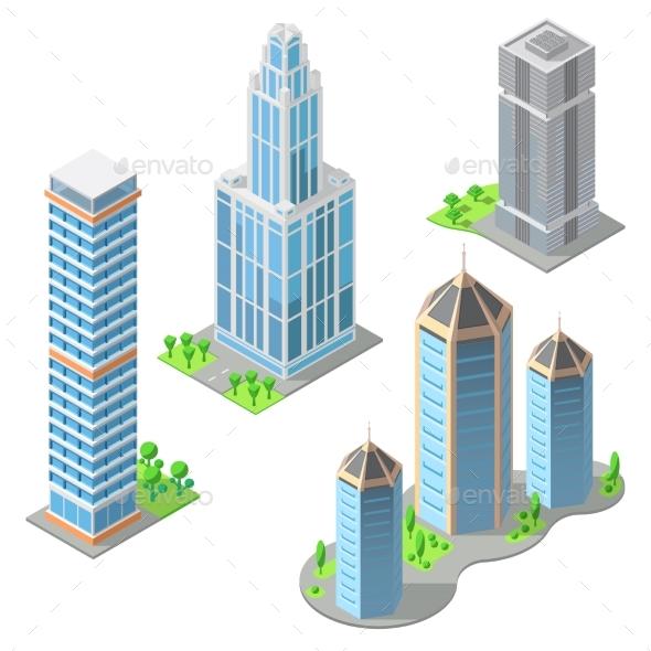 Vector Isometric Modern Buildings Cartoon
