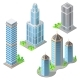 Vector Isometric Modern Buildings Cartoon