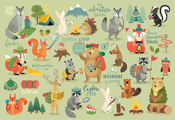Camping Animals Hand Drawn Style - Animals Characters