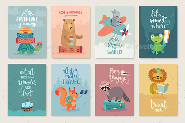 Travel Animals Card Set - Animals Characters