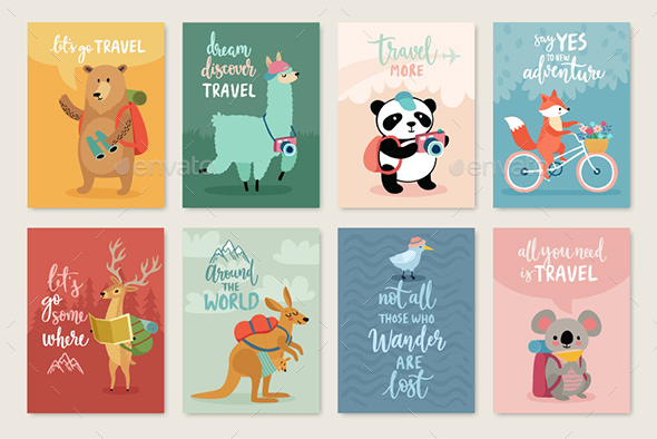 Travel Animals Card Set, - Animals Characters
