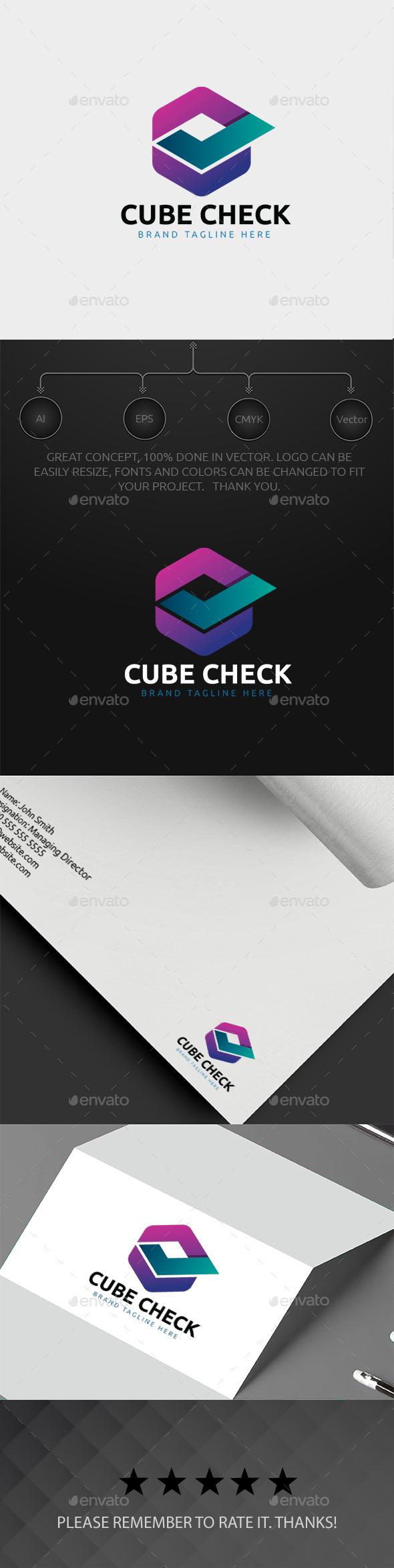 Cube Check Logo - Symbols Logo Templates