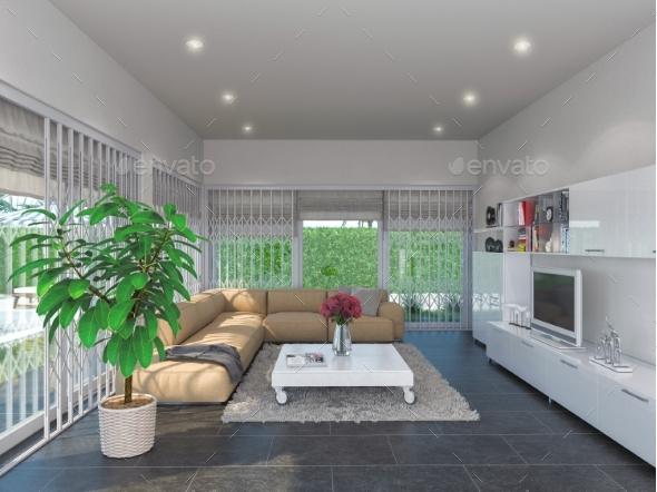 Concept 3d Illustration, Interior Design of the - Architecture 3D Renders