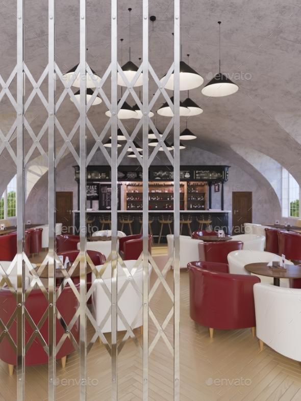 Concept 3d Illustration, Interior Design Cafe - Architecture 3D Renders