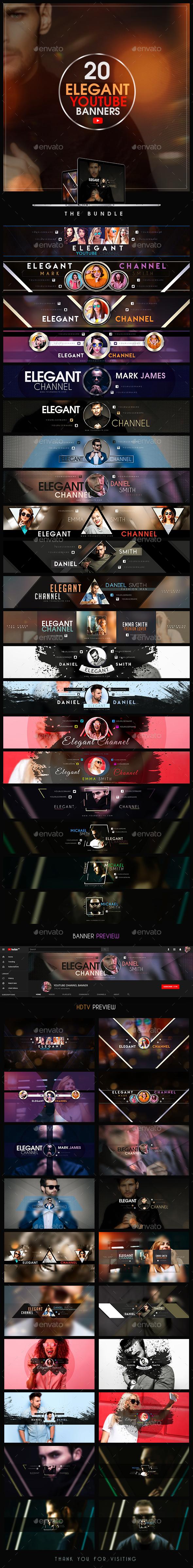 YouTube Bundle - 20 Elegant Banners - YouTube Social Media