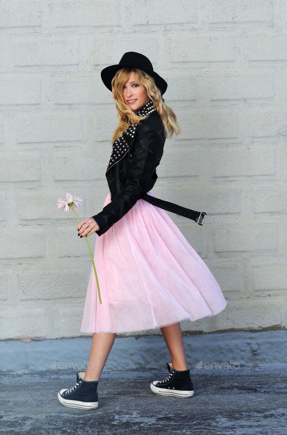 pretty stylish girl - Stock Photo - Images