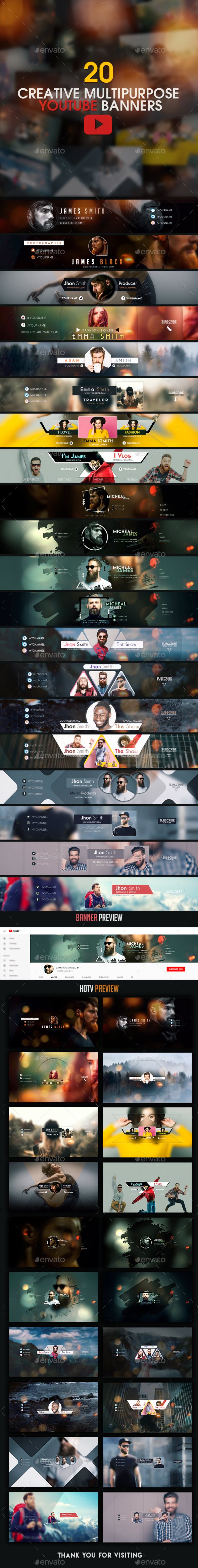 YouTube Bundle - 20 Creative MultiPurpose YouTube Banners - YouTube Social Media