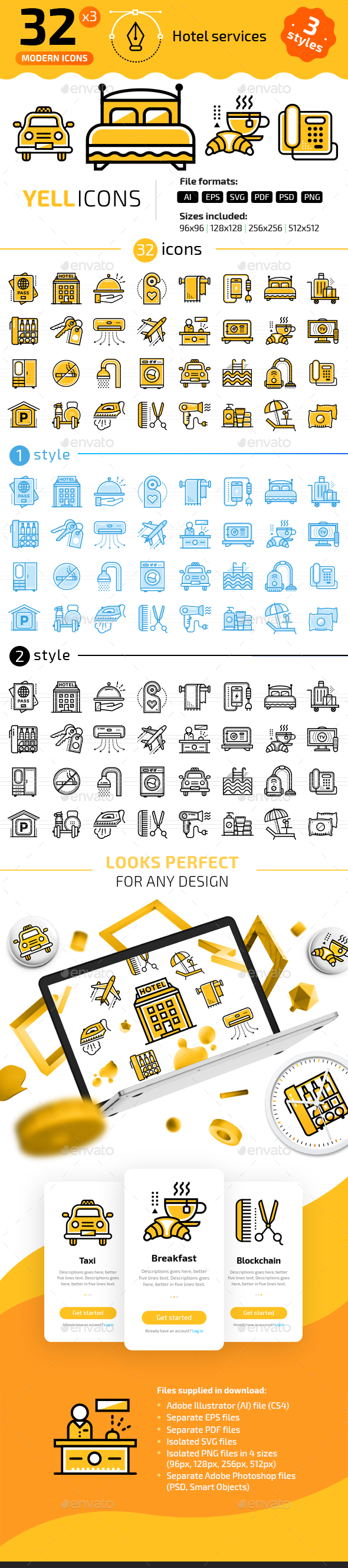 32+ Hotel Services Line Icons - Icons