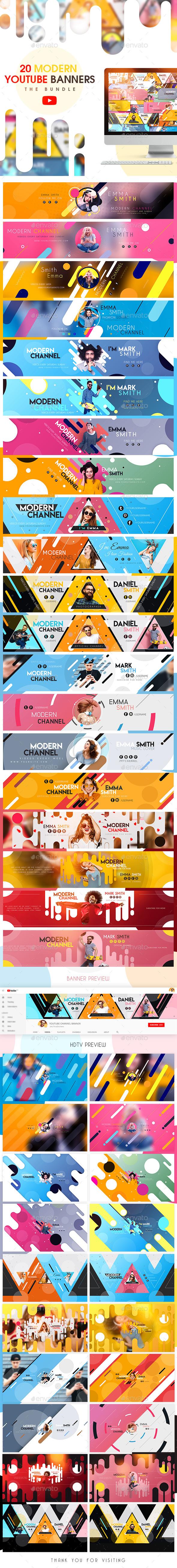 YouTube Bundle - 20 Modern Banners - YouTube Social Media