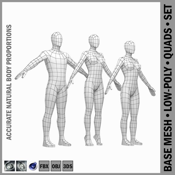 Male and Female Low Poly Base Mesh in A-Pose - 3DOcean Item for Sale