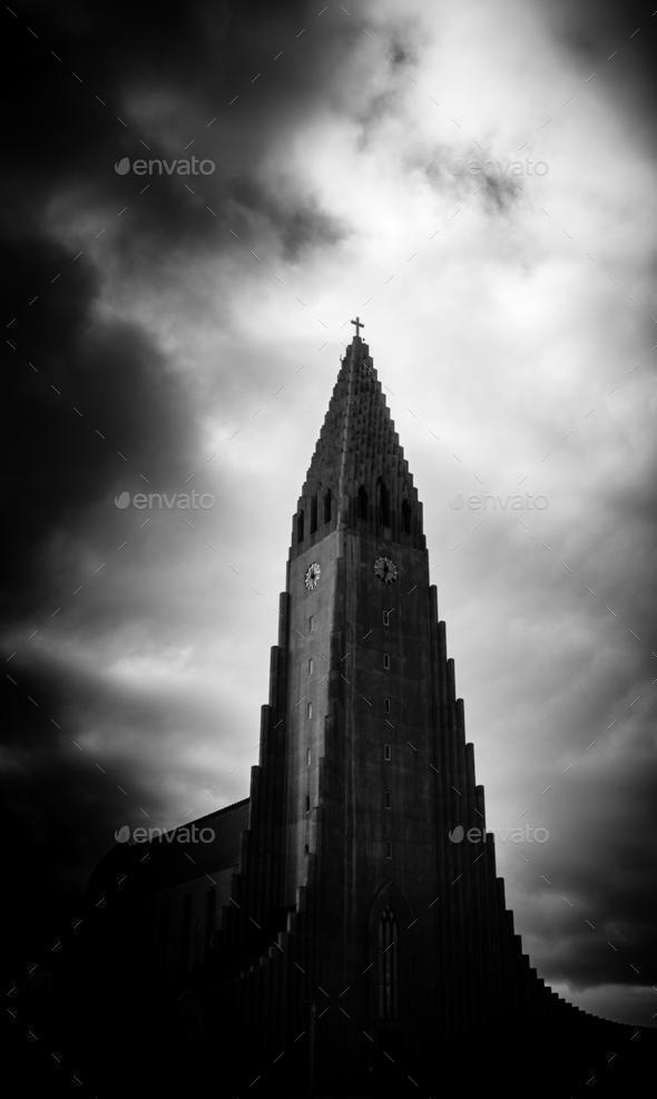 Dramatic Reykjavik Church - Stock Photo - Images