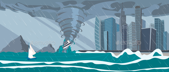 Incoming Sea Tornado Hurricane on Business City - Backgrounds Decorative