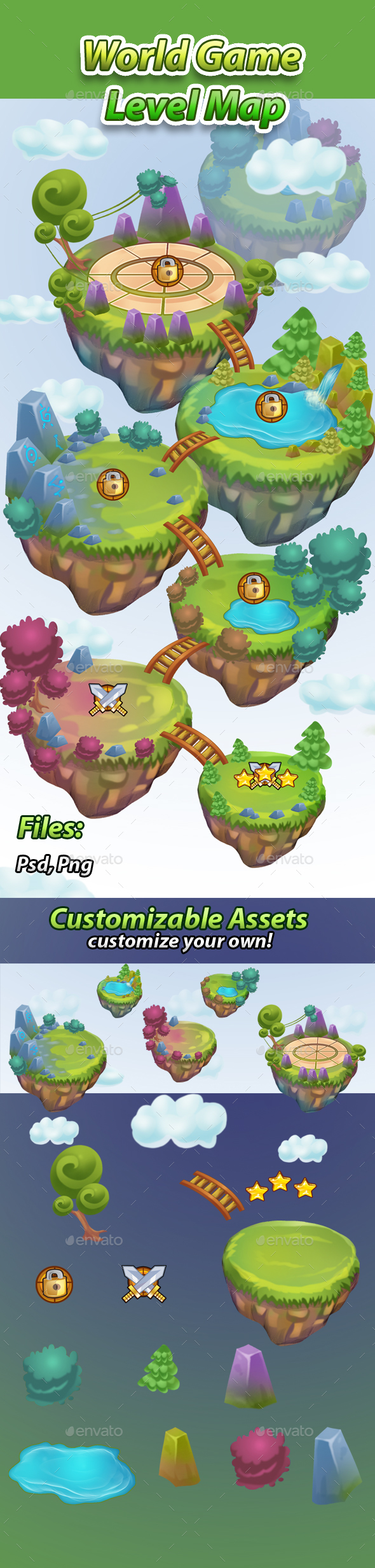 World Game Level Map Assets - Miscellaneous Game Assets