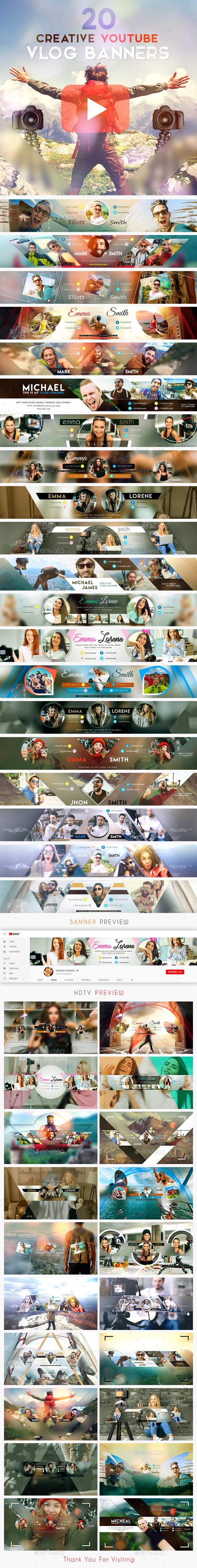 Vlog Bundle - 20 Creative YouTube Vlog Banners - YouTube Social Media