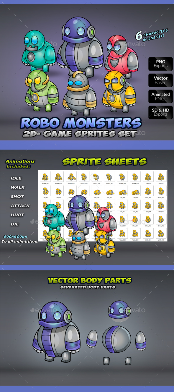 Robo  Monsters Game Enemies Sprites - Sprites Game Assets