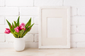 White frame mockup with magenta pink tulip in the flower pot - PhotoDune Item for Sale
