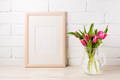 Wooden frame mockup with magenta pink tulips in glass pitcher ja - PhotoDune Item for Sale