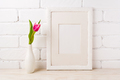 White frame mockup with magenta pink tulips - PhotoDune Item for Sale