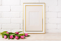 Gold decorated frame mockup with magenta tulips bouquet - PhotoDune Item for Sale