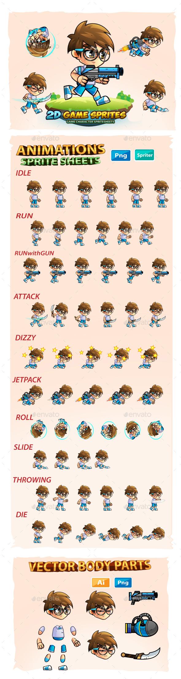 Geek Boy- 2D Game Character Sprites - Sprites Game Assets