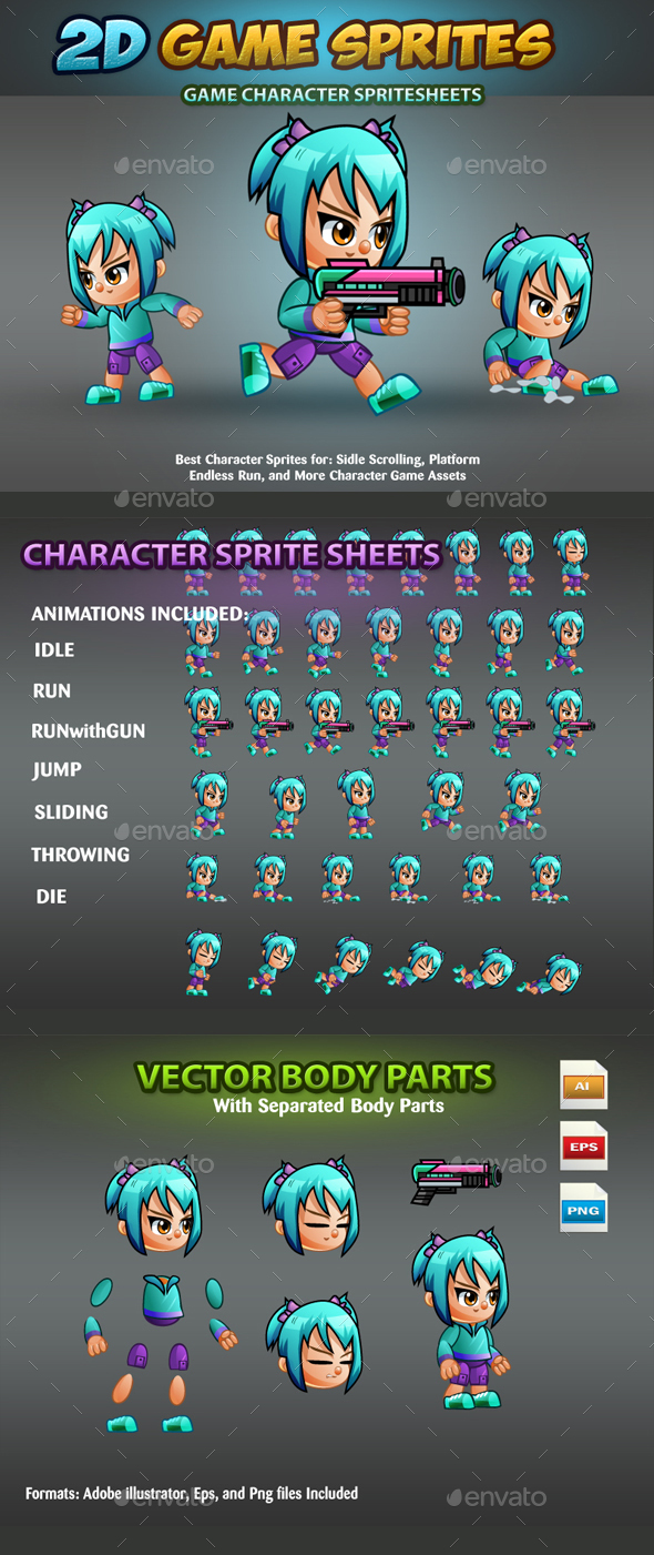 2D Game Character Sprites - Sprites Game Assets