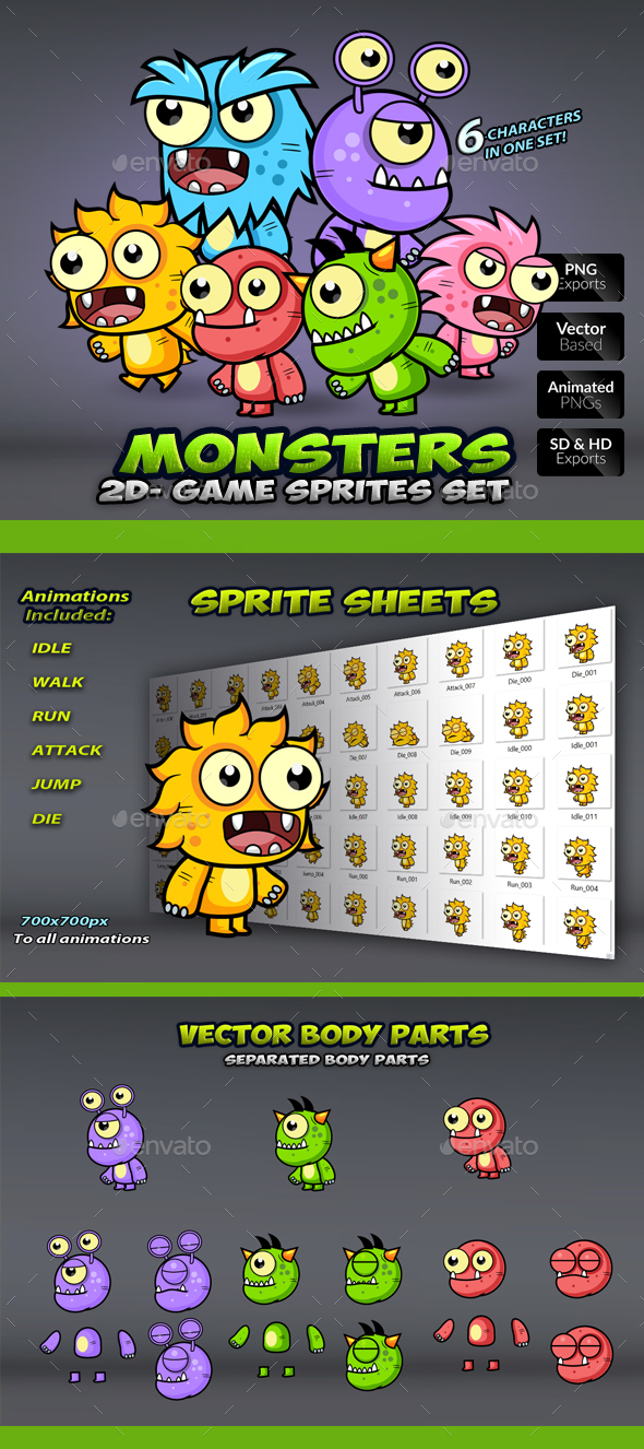 6 Monster Enemies Game Sprites Set - Sprites Game Assets